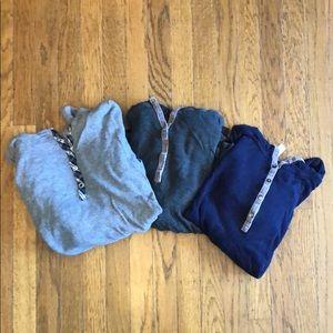 Three Pajama Long Sleeve Shirts with Hood